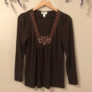 ANN TAYLOR LOFT 3/4 Sleeve Embroidered Top